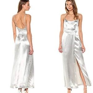 French Connection silver metallic long gown 0